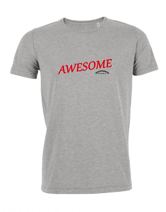 AWESOME T-SHIRT GRIS BLANC BLEU BOGOSSGENIUS - bogossgenius