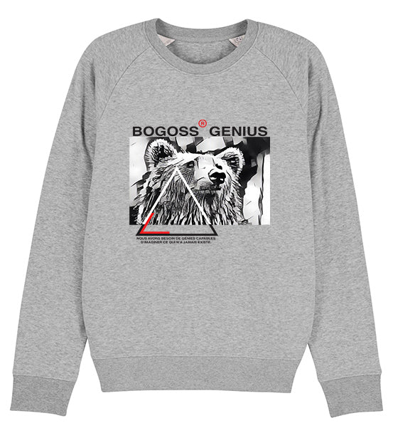 sweat-shirt gris imprimé ours - bogossgenius