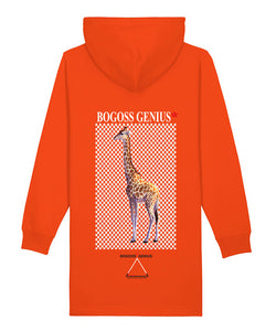 Robe sweat capuche Orange animal girafe-bogossgenius design - bogossgenius