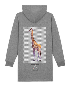 Robe sweat-shirt à capuche imprimé girafe-bogossgenius design - bogossgenius