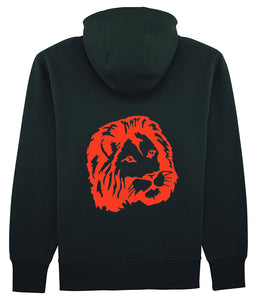 sweat noir à capuche lion rouge bg - bogossgenius