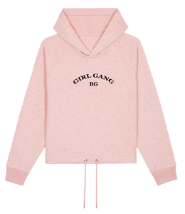 Sweat-shirt capuche court femme BG pink - bogossgenius