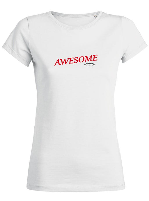 AWESOME T-SHIRT FEMME-BLANC BEIGE - bogossgenius