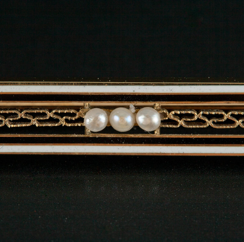 "Vintage 1930's 14k Yellow Gold ""AAA"" Seed Pearl Pin / Brooch"