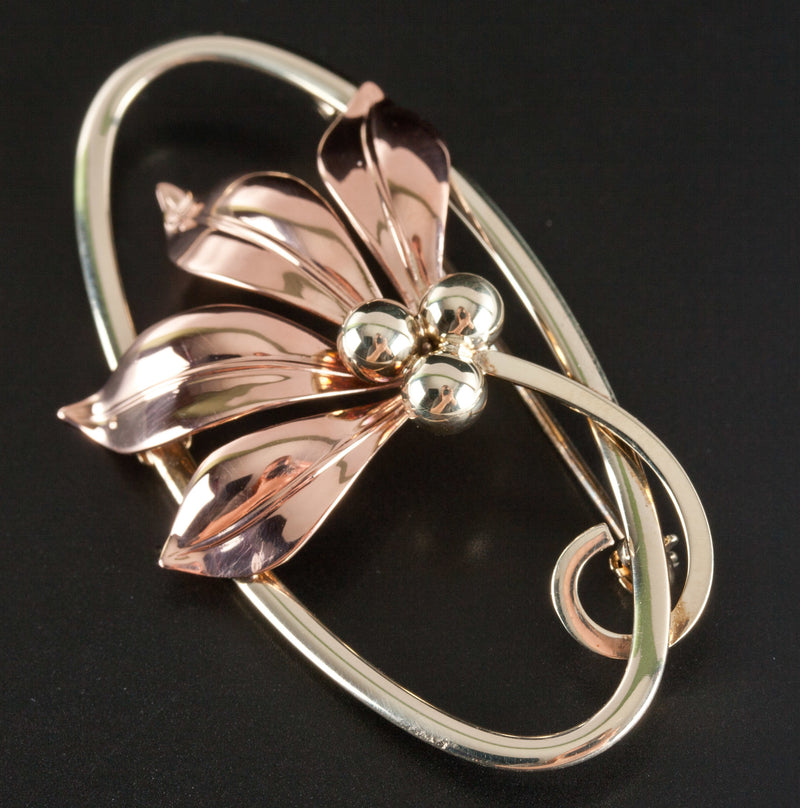 Vintage 1950's 10k Tri-Color Gold Floral Flower Style Pin / Brooch 6.0g