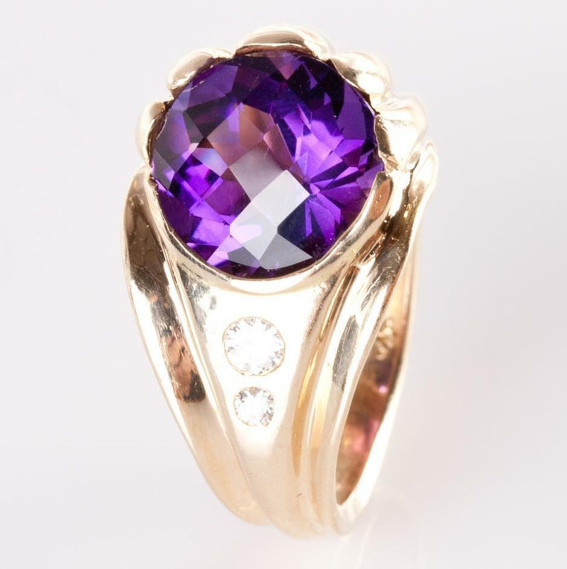 14k Yellow Gold Amethyst Solitaire Cocktail Ring W/ Diamond Accents 14.16ctw