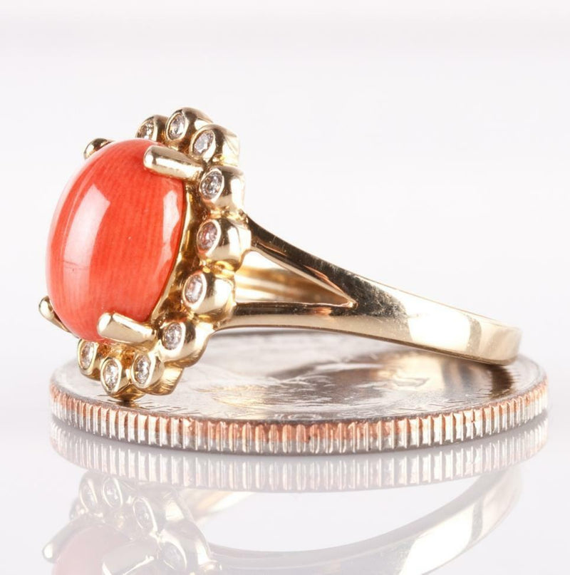 14k Yellow Gold Oval Cabochon Cut Coral & Diamond Ring / Earring Set 70.29ctw