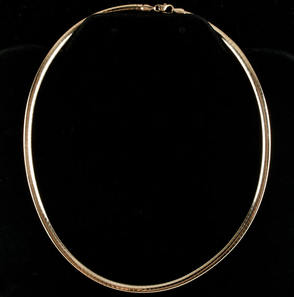 "14k Yellow Gold Italian Omega Style Chain / Necklace 16.5"" Length 23.5g"