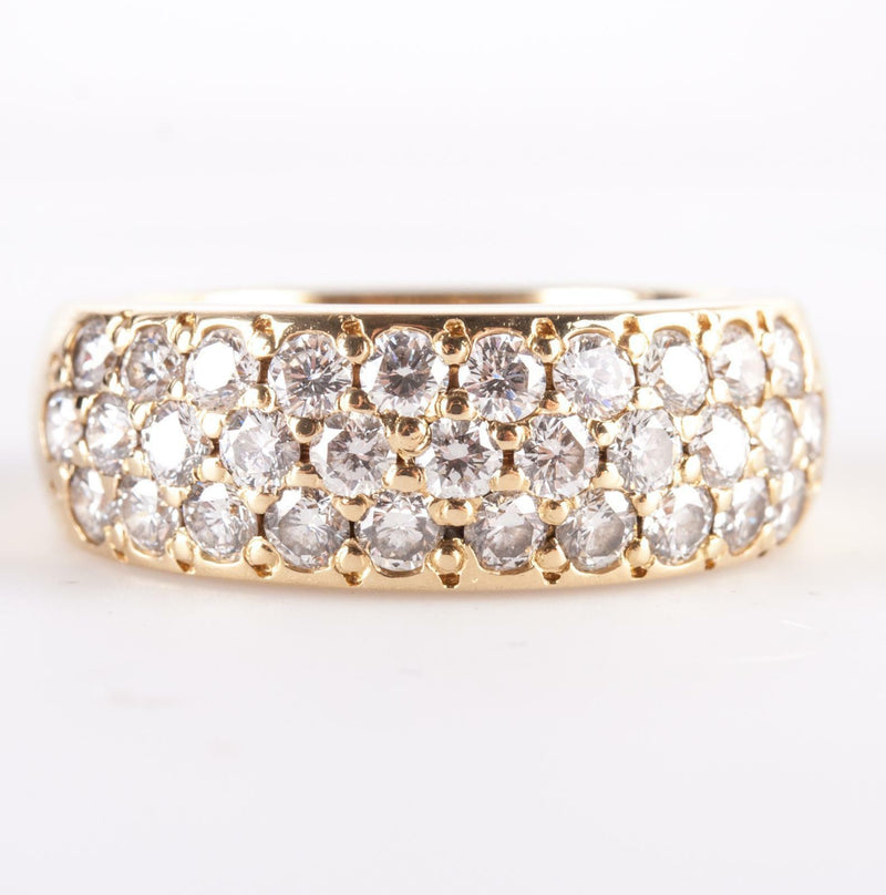 18k Yellow Gold Round Brilliant Cut Diamond Pave' Style Cocktail Ring 1.705ctw