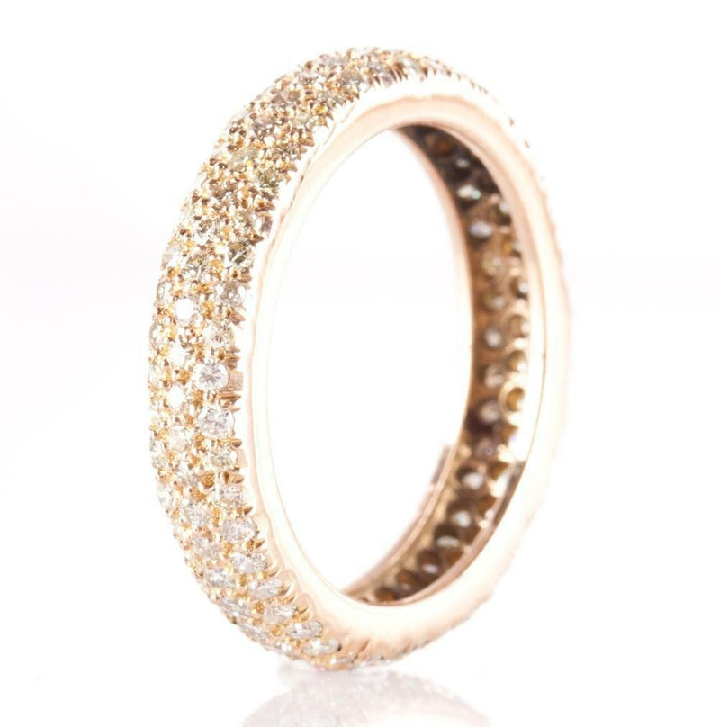 18k Yellow Gold Round Cut Diamond Eternity Wedding / Anniversary Ring 1.02ctw