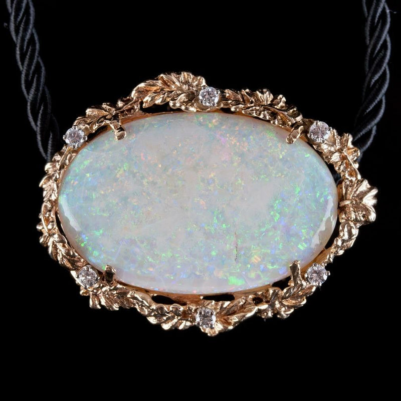 Vintage 1960's 14k Yellow Gold Opal Solitaire Pendant W/ Diamond Accents 38.3ctw