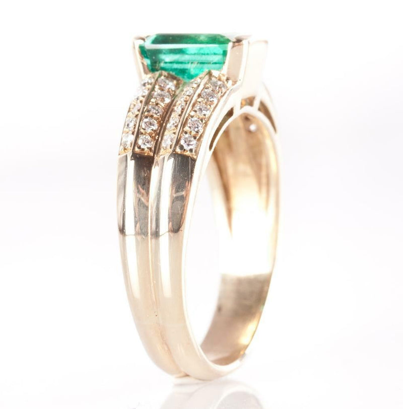 14k Yellow Gold Emerald Cut Emerald Solitaire Ring W/ Diamond Accents 1.50ctw