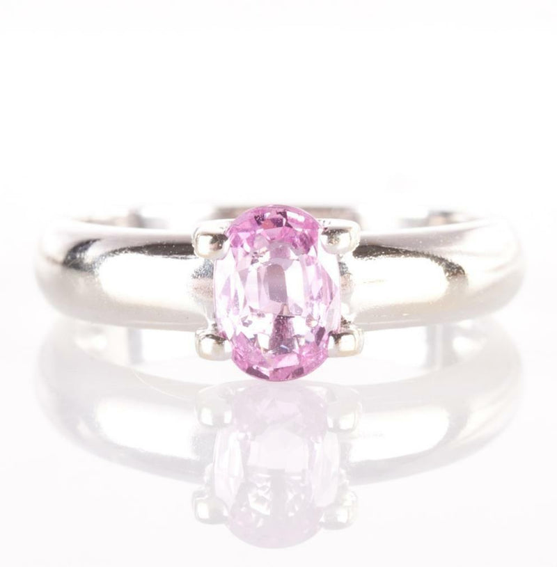 "14k White Gold Oval Cut Pink ""AA"" Sapphire Solitaire Ring .87ct"