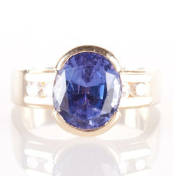 14k Yellow Gold Oval Cut AA Tanzanite Half Bezel Ring W/ Diamond Accents 2.30ctw