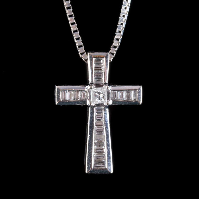 "14k White Gold Baguette & Princess Cut Diamond Cross Pendant W/ 18"" Chain .373ctw"