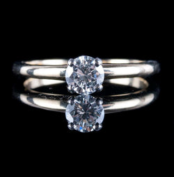 14k Yellow & White Gold Round Cut Diamond Solitaire Engagement Ring .40ct