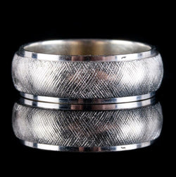 14k White Gold Textured Band / Ring 4.3g Size 4.5