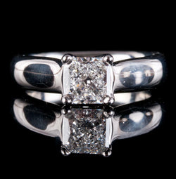 Platinum Square Cut Diamond Solitaire Engagement Ring 1.03ct W/ GIA Diamond Cert