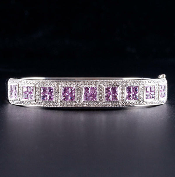 14k White Gold Princess Cut Pink Sapphire & Diamond Bracelet / Ring Set 9.87ctw