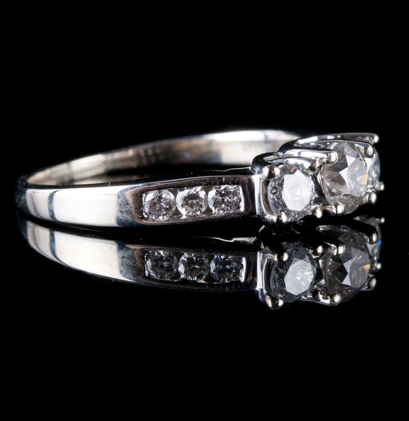 14k White Gold Round Cut Three-Stone Diamond Engagement Ring W/ Accents .91ctw
