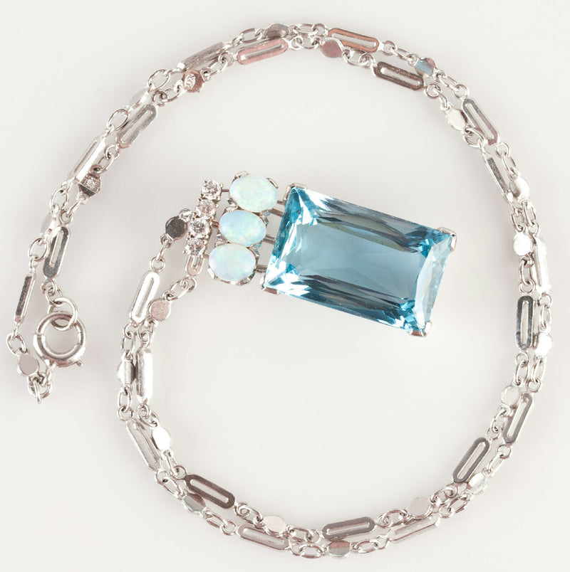 Vintage 1970s Platinum Emerald Cut Aquamarine / Opal / Diamond Necklace 19.14ctw