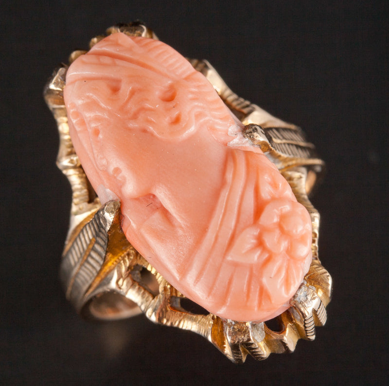 "Vintage 1930's 10k Yellow Gold Oval Cut ""AAA"" Coral Female Bust Cameo Ring"
