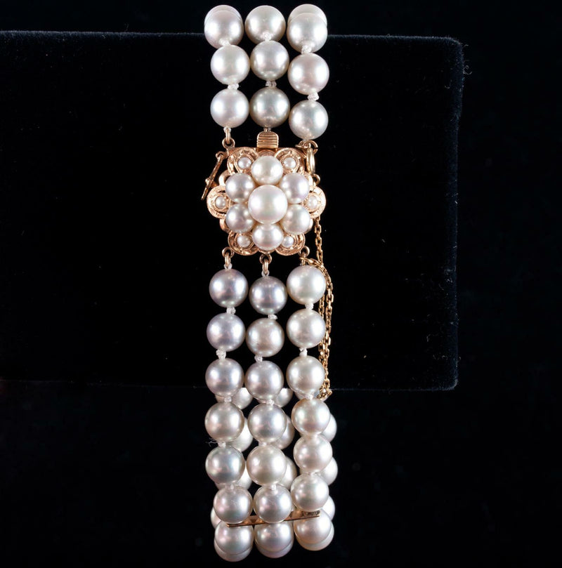 "14k Yellow Gold Cultured Silver Pearl Three-Stranded Bracelet 7.0"" Length 36.9g"