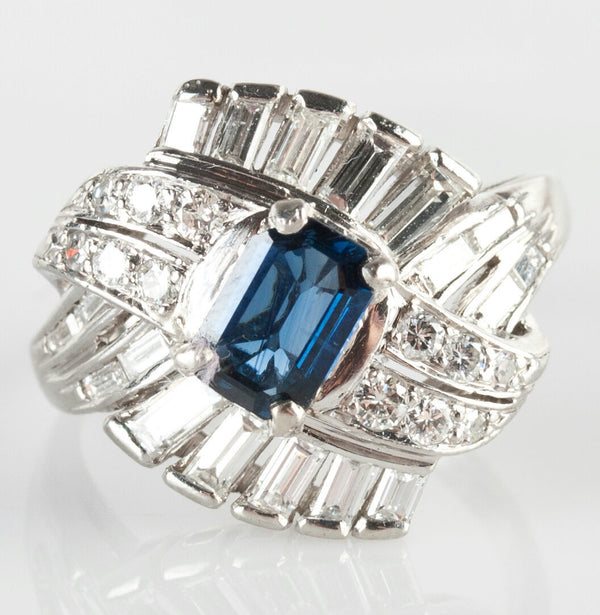 Stunning Vintage 1940's Platinum Sapphire & Diamond Cocktail Ring 2.092ctw
