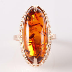 14k Rose Gold Oval Cabochon Cut Natural Amber Solitaire Ring 5.9ct