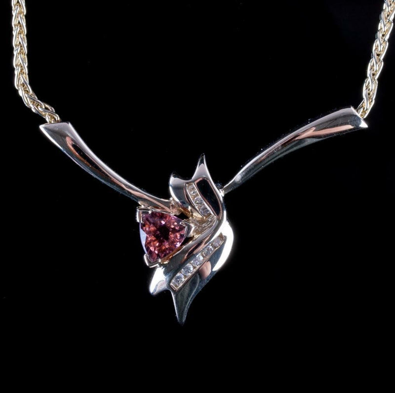 14k Yellow Gold Trillion Cut Pink Tourmaline & Diamond Necklace .79ctw