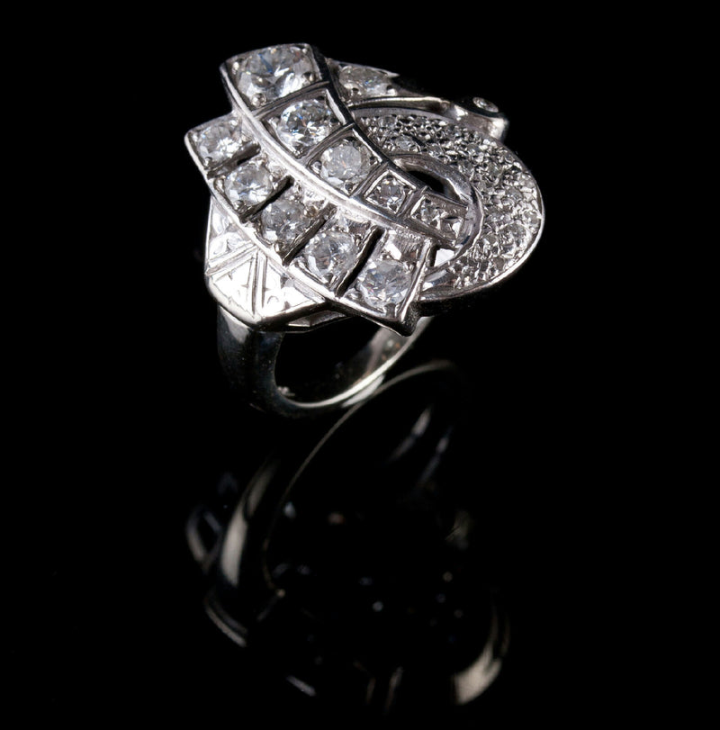 Vintage 1940's 14k White Gold Round Cut Diamond Cocktail Ring 1.50ctw