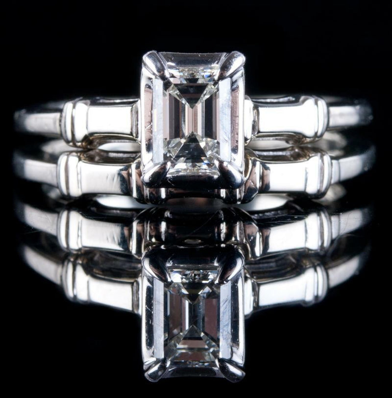 14k White Gold Emerald Cut Diamond Solitaire Engagement / Wedding Ring Set .70ct