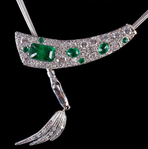 14k White / Rose Gold Emerald Cut Emerald & Diamond Custom Necklace 2.34ctw