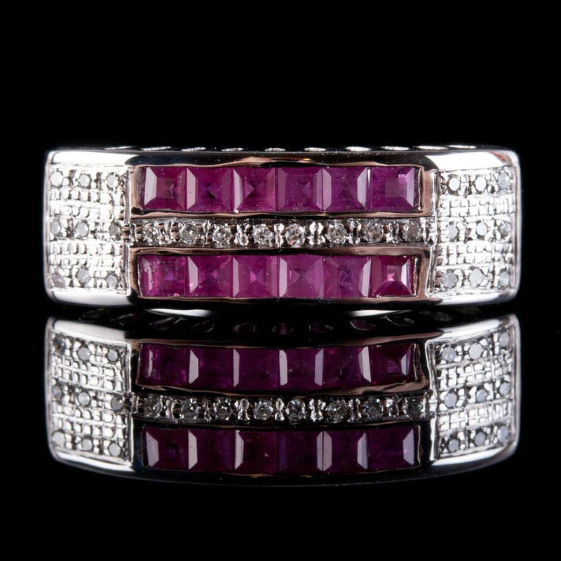Vintage 1960's 18k White Gold Square Cut Ruby & Diamond Cocktail Ring .66ctw