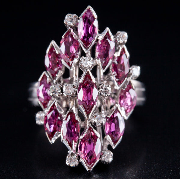 Ladies Vintage 1960's 14k White Gold Ruby & Diamond Cocktail Ring 6.33ctw