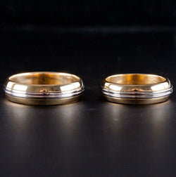 18k Yellow Gold & Platinum Matching Bride & Groom Wedding Band Set 15.1g