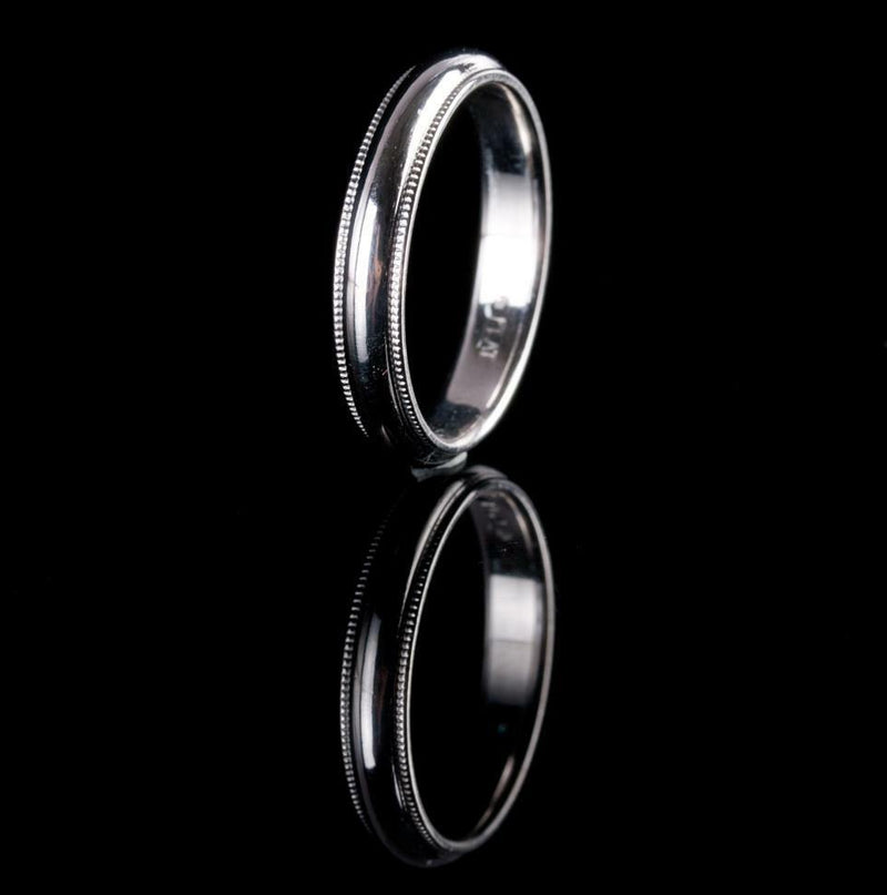 Platinum Milgrain Style Wedding Band / Ring 6.5g Size 8