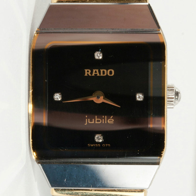 "Ladies 18k Yellow Gold & Tungsten ""Rado"" Jubile Anatom Wrist Watch W/ Diamonds"