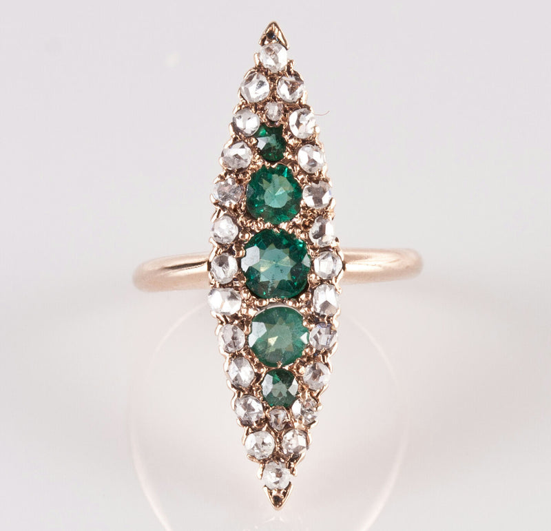 Vintage 1880's Round Emerald & Diamond Navette Ring, 14k Yellow Gold, 1.02ctw