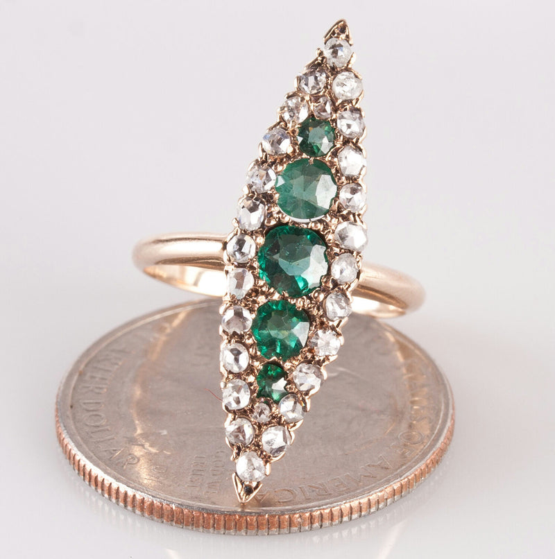 Vintage 1880's 14k Yellow Gold Round Cut Emerald & Diamond Cocktail Ring 1.02ctw