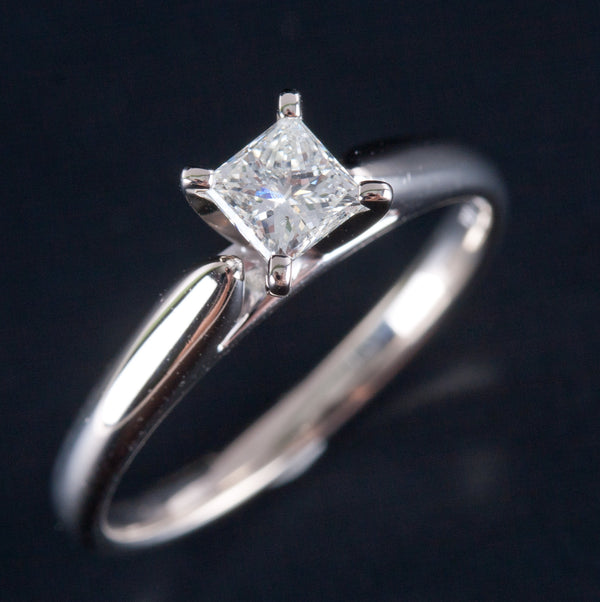 14k White Gold Princess Cut Diamond Solitaire Engagement Ring .46ct Size 6.75