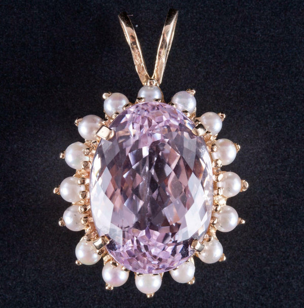 14k Yellow Gold Oval Cut Kunzite & Cultured Freshwater Pearl Pendant 14.7ct