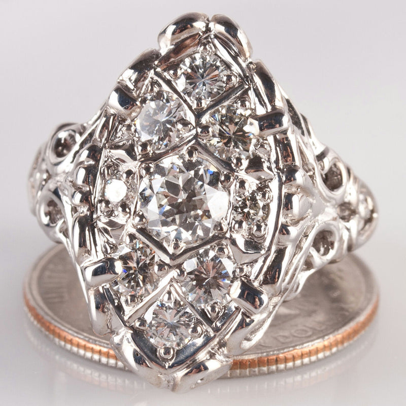 14k White Gold Custom Made Vintage Style Diamond Cluster Cocktail Ring 1.58ctw