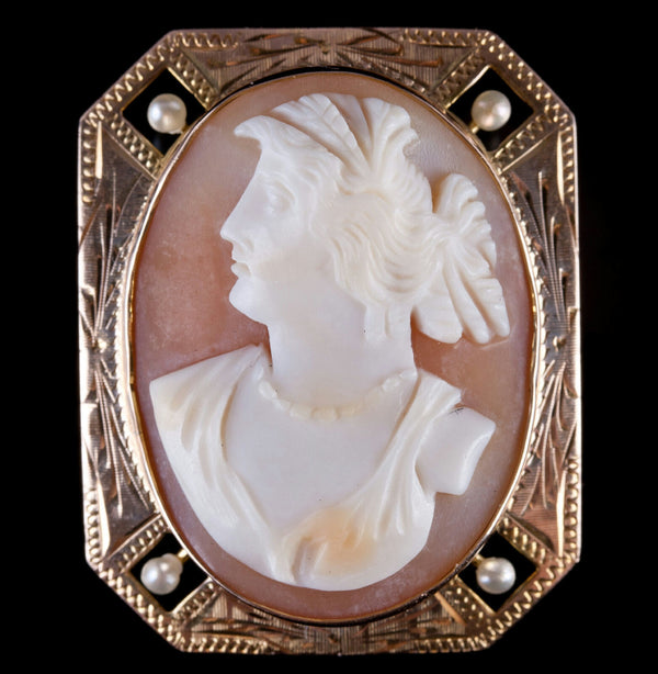 Vintage 1920's 10k Yellow Gold Natural Shell & Pearl Cameo Pin / Pendant