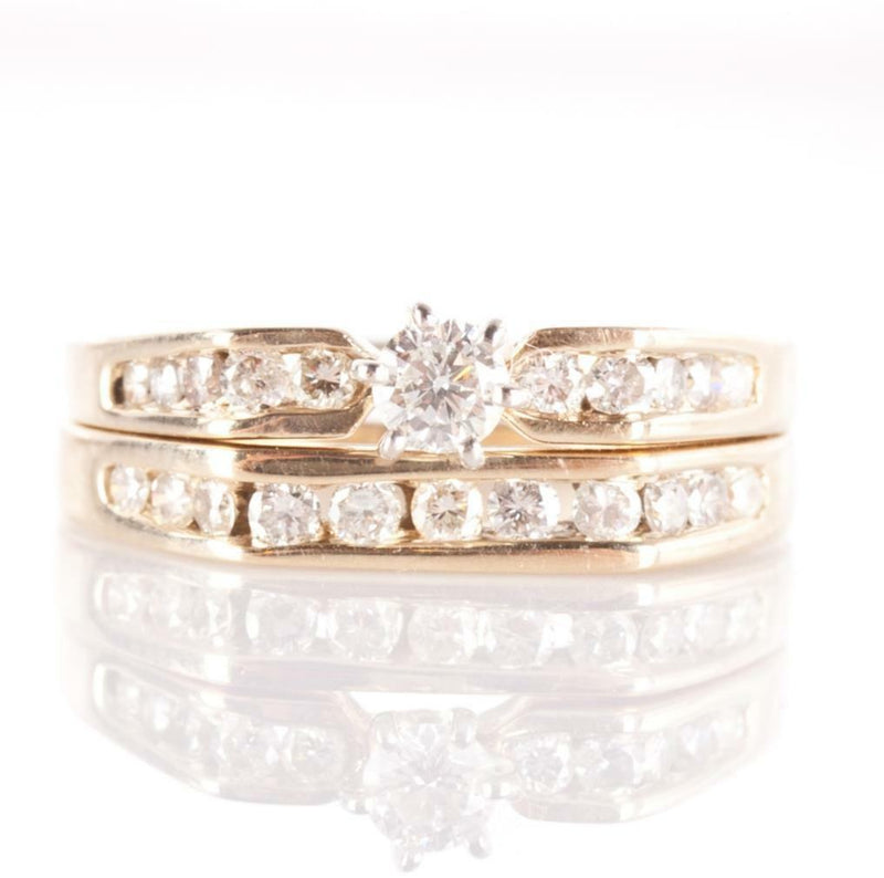 14k Yellow Gold Diamond Solitaire Engagement Wedding Ring Set W/ Accents .625ctw