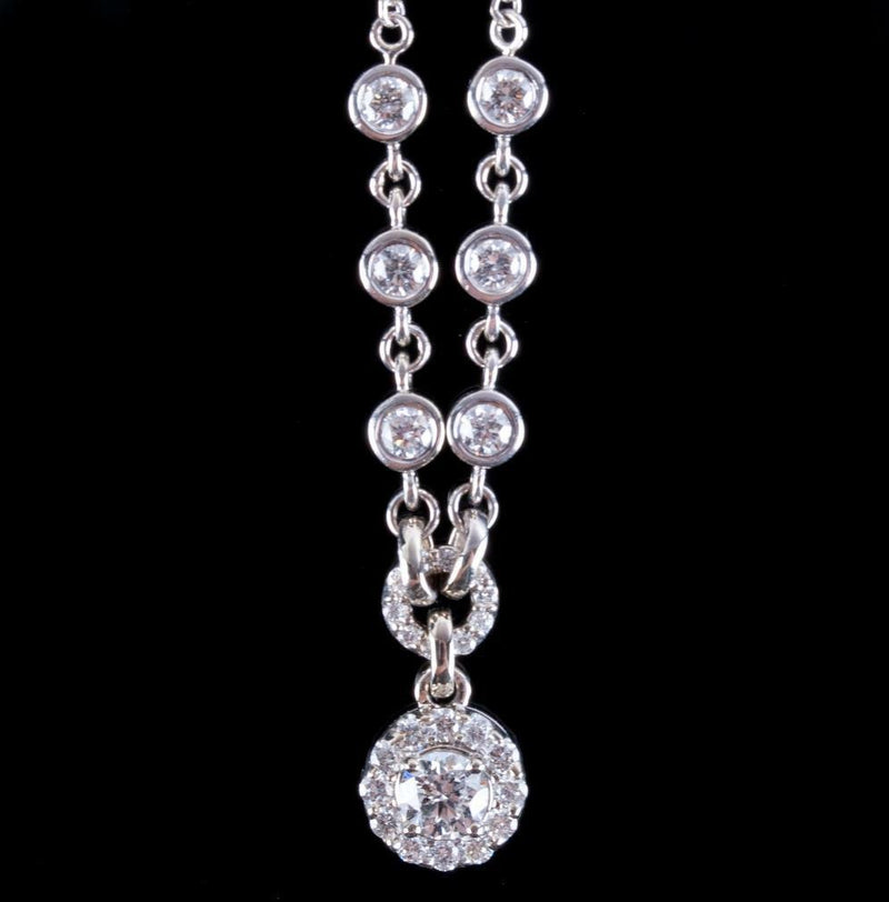 "14k White Gold Festoon Style Round Cut Diamond Necklace .88ctw 16"" Length"