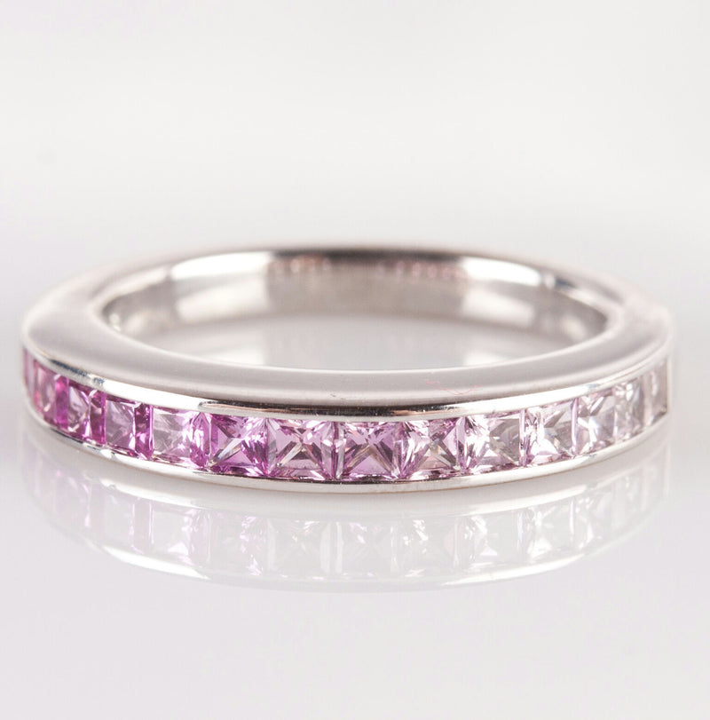 Graduated Color Pink Sapphire & Pearl Ring Set, 18k White Gold, 2.43ctw
