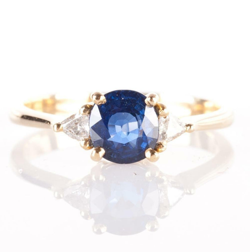 14k Yellow Gold Round Cut Sapphire & Diamond Three-Stone Ring 1.44ctw