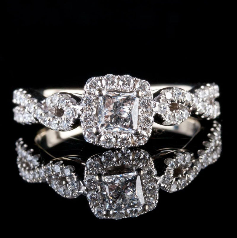 14k White Gold Princess Cut Leo Diamond Engagement Ring W/ Accents 1.02ctw
