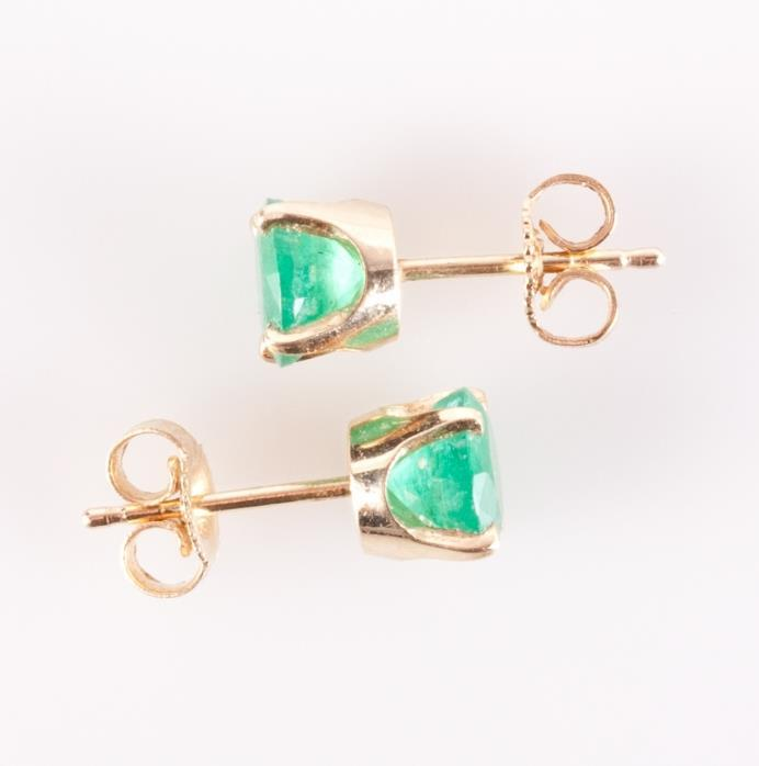 14k Yellow Gold Round Cut Natural Emerald Solitaire Stud Earrings 1.60ctw